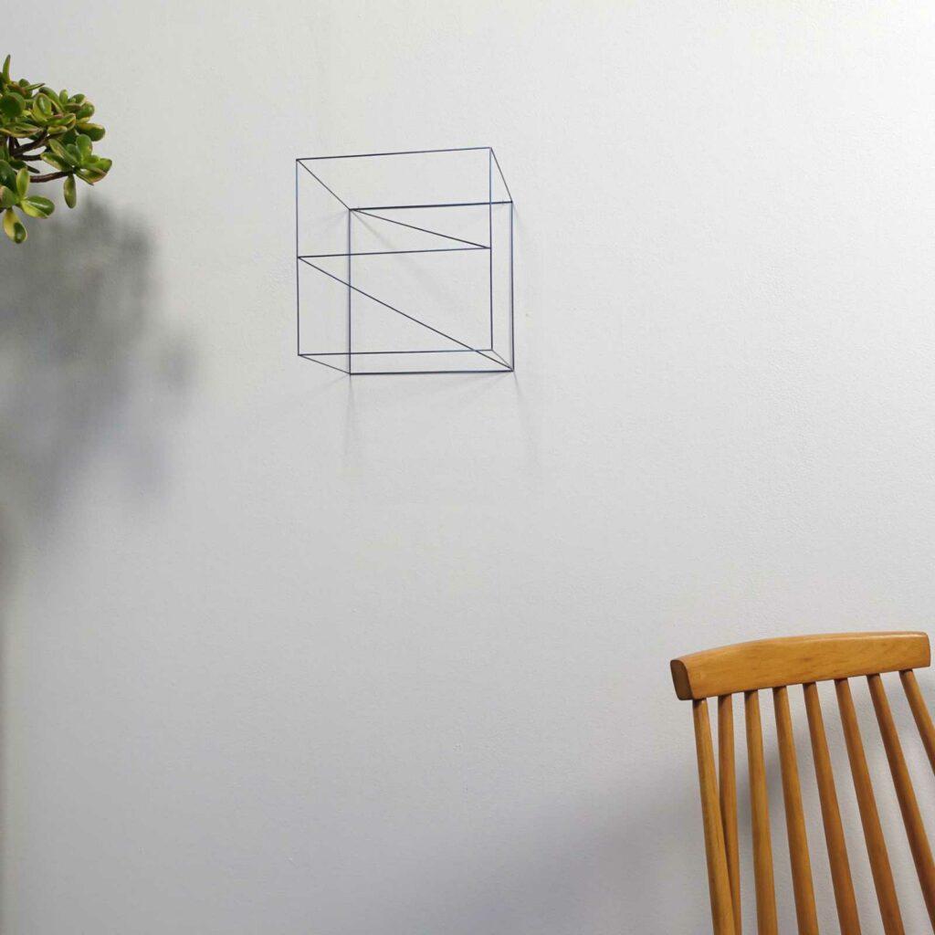 Anne Rose Regenboog, Kubusobject titanium 20 x 20 x 20 cm.